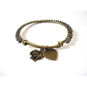 Elephant Charm Bangle Handmade Bracelet Hematite